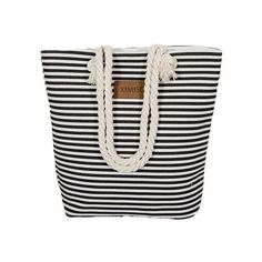 Girl Casual Summer Canvas Shopping Handbag Shoulder Bag Striped Beach... ❤ liked on Polyvore featuring bags, handbags, shoulder bags, shoulder handbags, canvas shoulder bag, beach purse, striped handbags and summer shoulder bags