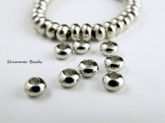 Brass Silver Plated Platinum-Rondelle Abacus- Spacer Beads 5/3mm Hole 2mm (50) #Unbranded #Boheiman