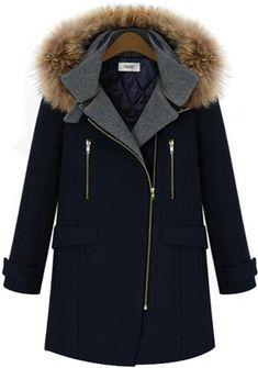Navy Long Sleeve Hooded Zipper Woolen Coat