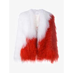 Saks Potts Heart Mongolian Lamb Fur Coat ($1,185) ❤ liked on Polyvore featuring outerwear, coats, red fur coat, cropped fur coat, multi colored fur coat, long sleeve coat and red coat