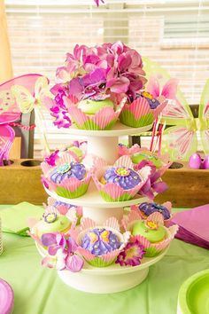 Tinker bell fairy party cupcakes