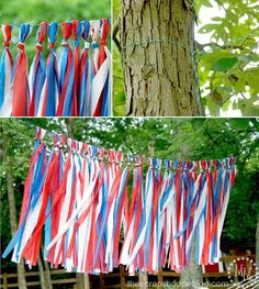 Create a fun and inviting atmosphere outdoors for your July celebrations by making this inexpensive tassel garland. 4th Of July Parade, Fourth Of July Decor, 4th Of July Celebration, 4th Of July Decorations, July 4th, Yard Decorations, Patriotic Party, Patriotic Crafts, July Crafts