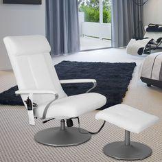 Amazon.de: LANGRIA Massagesessel Fernsehsessel Wärmefunktion PVC-Leder mit Fußhocker (Schwarz)