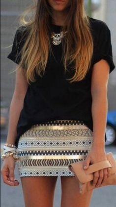 skirt aztec gold embroidered short pencil skirt