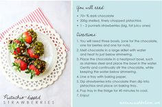 Pistachio & Chocolate dipped strawberries recipe