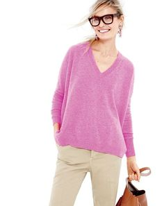 J.Crew Collection cashmere boyfriend V-neck, women's broken-in boyfriend chino, crystal foliage earrings, Downing hobo, and Super Ciccio eyeglasses at J.Crew.