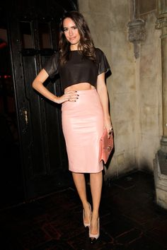 Louise Roe. Pink pleather skirt and crop top LOVE THIS!!!