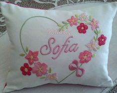 Cushion Embroidery, Floral Embroidery Patterns, Hand Work Embroidery, Ribbon Embroidery, Embroidery Stitches, Embroidery Designs, Fabric Painting, Sewing Crafts, Couture