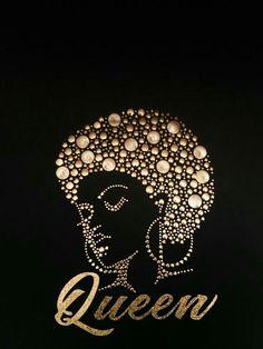 Gold Queen Afro Studs/Glitter Vinyl T-Shirt - Modern Black Love Art, Black Girl Art, My Black Is Beautiful, Black Girls Rock, Black Girl Magic, Art Girl, Beautiful Oops, African American Art, African Art
