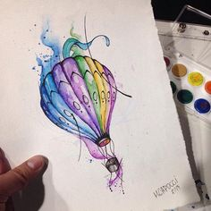watercolor tattoo idea hot air balloon