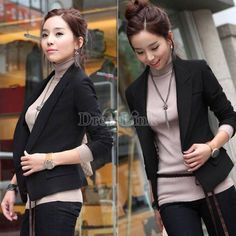 Womens Peplum Ladies One Button Long Sleeves New Jacket Coat Blazer Top