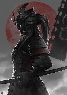 'Dark Samurai Warrior' by Ronin Samurai, Samurai Warrior, Female Samurai Tattoo, Ninja Warrior, Dark Fantasy, Fantasy Art, Geisha Tattoos, Samurai Artwork, Samurai Drawing