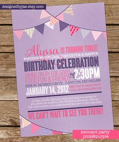 love this invite - in pink and yellow instead of pink and purple