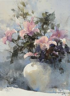 """Mid-century lily"" 【姬百合】 (Demo) By Chien Chung Wei (also known as Prince Hibari) (忠威), from Taipei, Taiwan watercolor; 36 x 27 cm https://www.facebook.com/chienchungwei"