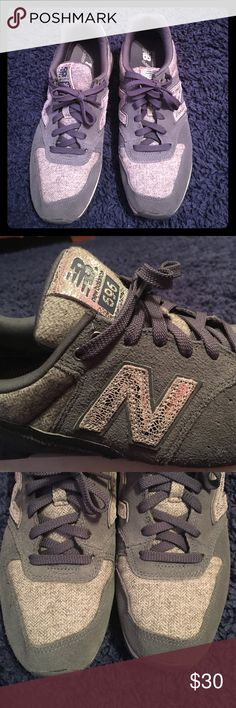 New Balance 696 running shoes Medium grey with metallic silver and light grey knit details. Great condition. Only worn maybe 5 times. Super cute, just too big for me. New Balance Shoes Sneakers