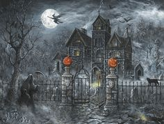 Create a spooky Halloween scene in your home with our light-up canvas. Decorated with a grim reaper, flying witch and haunted house, this wall art is illuminated by specially-placed LED lights. Halloween Puzzles, Halloween Haunted Houses, Halloween Pumpkins, Halloween House, Spooky House, Halloween Clipart, Halloween Scene, Halloween Night, Vintage Halloween