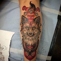 http://tattooideas247.com/fox-forearm/ Fox Forearm Tattoo #Abstract, #Animal, #Cute, #Fluffy, #Forearm, #Fox, #Geometric, #KatAbdy, #Pretty, #Teeth