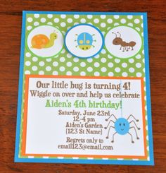 Bug InvitationsInsect Invites Bug Party  A2 by scrappinash on Etsy, $11.10
