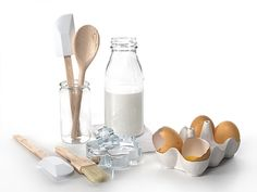 Tableware Set by Dille and Kamille Milk And Eggs, 3d Texture, Wood Glass, Measuring Spoons, Kitchen Accessories, Objects, Metal, Tableware, Interior