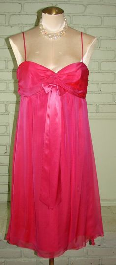 Truly Scrumptious Couture Chiffon Pink Cocktail Dress S 36 Bust NWT Dancia style #TrulyScrumptious #EmpireWaist #Cocktail