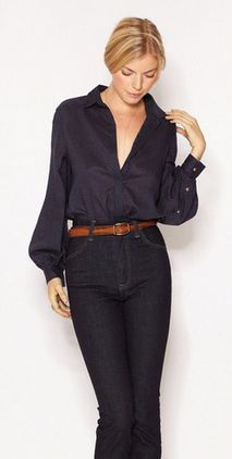 Navy shirt with high waisted jeans. Tan belt. (not sure about the high waist jeans; been there done that)