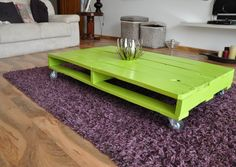 12 Creative Coffee Tables for Modern Living Rooms : Unique Lime Green Coffee Table Design With Purple Rug In Modern Living Room With Wood La...