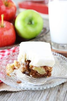 Apple Cake with Cream Cheese Frosting-this easy apple cake is a family favorite and makes a great...