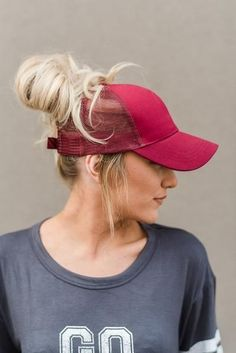 These messy bun baseball hats are GENIUS! Cut out hole on top for your  ponytail or messy bun to pop out thru. a5f2e8d1aee0
