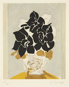 workman:  phillipsdepury: GEORGES BRAQUE   Les amaryllis, 1958   Aquatint and etching in colors, on Rives BFK paper Sold for $27,500 at the Editions Evening Sale, 31 October 2012, New York.