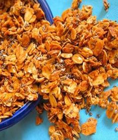 Cinnamon Chia Seed Granola - Shape Magazine Bake up a batch of this granola on a Sunday afternoon and enjoy it all week on top of some Greek yogurt, in a bowl with milk, or in a baggie for a healthy snack on the go.  #healthy #snacks on the go