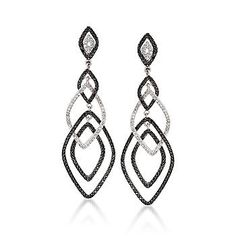 1.65 ct. t.w. Black and White Diamond Earrings In 14kt White Gold $2,171.25