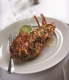 This grilled lobster recipe from Bryan Webb is a great dish for dinner parties. You can start preparing the seafood dish days in advance and everyone appreciates the sheer luxury of freshly cooked lobster.