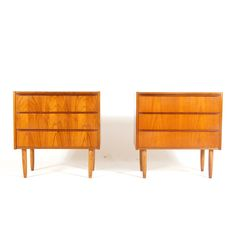 Pair Retro Vintage Danish Teak Bedside Cabinets Tables Chest of Drawers 60s 70s