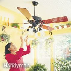 Switch Your Ceiling Fan Direction Ceiling fans should turn clockwise in the colder months, which pushes warm air back down into the room. Most fans have a simple switch that reverses the direction. Plus: How to Balance a Ceiling Fan Ceiling Fan Wiring, Ceiling Fans, Ceiling Lights, Ceiling Fan Direction, Door Sweep, Diy Home Repair, Wire Shelving, Shelves, Home Repairs