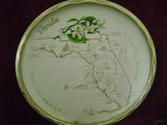 Vintage Souvenir Serving Tray Gold Rimmed  Round Metal Florida Map 50's 60's