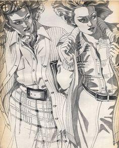 #1- Fashion illustration by Antonio, 1973, Robe Chemisier Annie Rivemale, Robe droite Donald Davies.