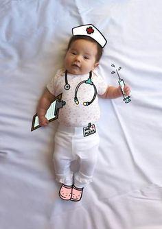 Alexa de Mayor Quiere ser Enfermera. Fotografia & Ilustración Creativa de bebés y niños soñadores. bebé baby