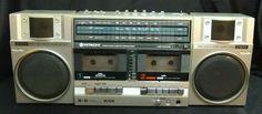 Hitachi Dual Deck Cassette Player Boombox TRK-W55H Ghetto Blaster Radio Vintage #Hitachi