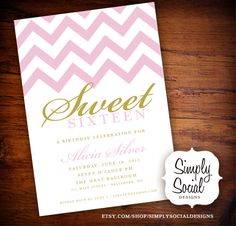 Sweet 16 Birthday Party Invitation with Chevron Gold and Pink.