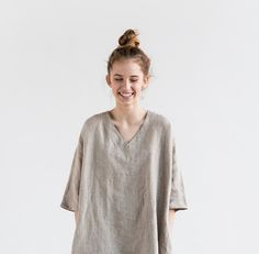 Natural linen tunic/dress. Washed linen kimono by notPERFECTLINEN