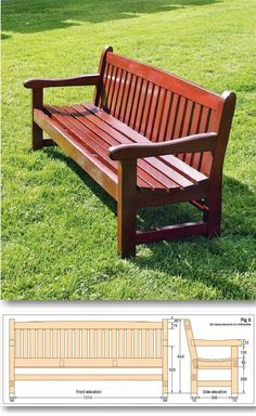 Garden Bench Plans - Outdoor Furniture Plans and Projects - Woodwork, Woodworking, Woodworking Plans, Woodworking Projects Unique Garden, Diy Garden, Wooden Garden, Garden Table, Garden Ideas, Wooden Chair Plans, Outdoor Furniture Plans, Wood Furniture, Furniture Ideas