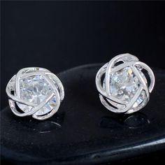 SHUANGR Fashion Hearts & Flower Perfect Cut Cubic Zirconia Crystal Stud Earrings for Women Jewelry Drop Shipping 2016