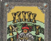 I always refer to the #9ofcups as the Wish card, as do many other Tarot readers. If you see this in a reading, you can rest assured that you are that much closer to having your deepest wish come true. Whatever you have been working for, you are in a place, or about to be, where you will be sitting pretty on the rewards of your labors. Do enjoy! Love, Norah