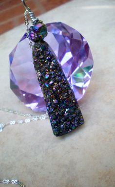 Agate Titanium Druzy Necklace by IsamarML on Etsy, $30.00