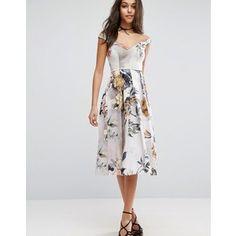 ASOS Off Shoulder Floral Midi Prom Dress