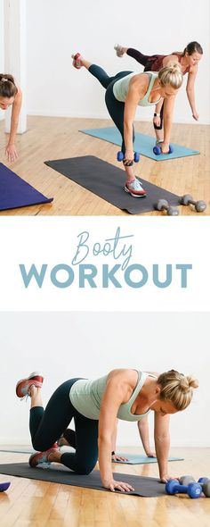 Get ready to sweat with this booty workout! You can use your body weight or you can add some dumbbells! Get your cardio fix and a great butt workout in under 45 minutes. It is a perfect workout for leg day or if you have a short amount of time to get a wo Great Butt Workouts, Beginner Cardio Workout, Short Workouts, Workout For Beginners, Body Workouts, Cardio Workouts, Fitness Workouts, Squats And Lunges, Printable Workouts