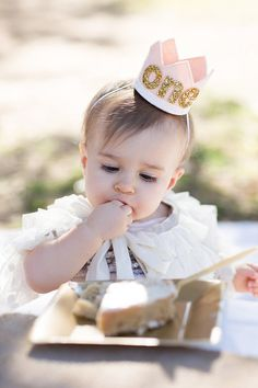 First Birthday Girl Crown Blush and Gold Felt by littleblueolive