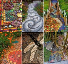 DIY Spiral Rock Pebble Mosaic Path I Wish to Have - Über Dekoration A pebble mosaic will give your yard, garden, or walkway a unique and unexpected focal point. More detail here This Pebble mosaic garden path looks amazing. Mosaic Walkway, Pebble Mosaic, Mosaic Art, Outdoor Projects, Garden Projects, Rock Pathway, Landscaping With Rocks, Landscaping Ideas, Dream Garden