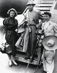 "Lauren Bacall, Humphrey Bogart, and Katharine Hepburn during the filming of ""The African Queen"""