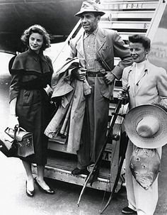 "Lauren Bacall, Humphrey Bogart, and Katharine Hepburn during the filming of ""The African Queen"""
